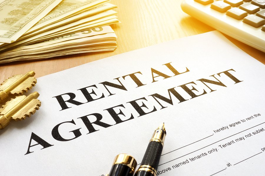 A Rental agreement on an office table.